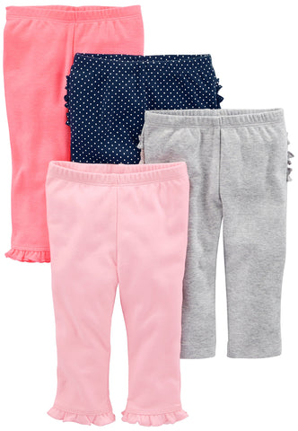Simple Joys by Carter's Baby Girls 4-Pack Pant, Pink/Grey/Navy Ruffle, 3-6 Months