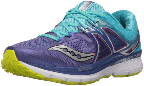 Saucony Women's Triumph iso 3 Running Shoe, Purple/Blue/Citron, 9 M US