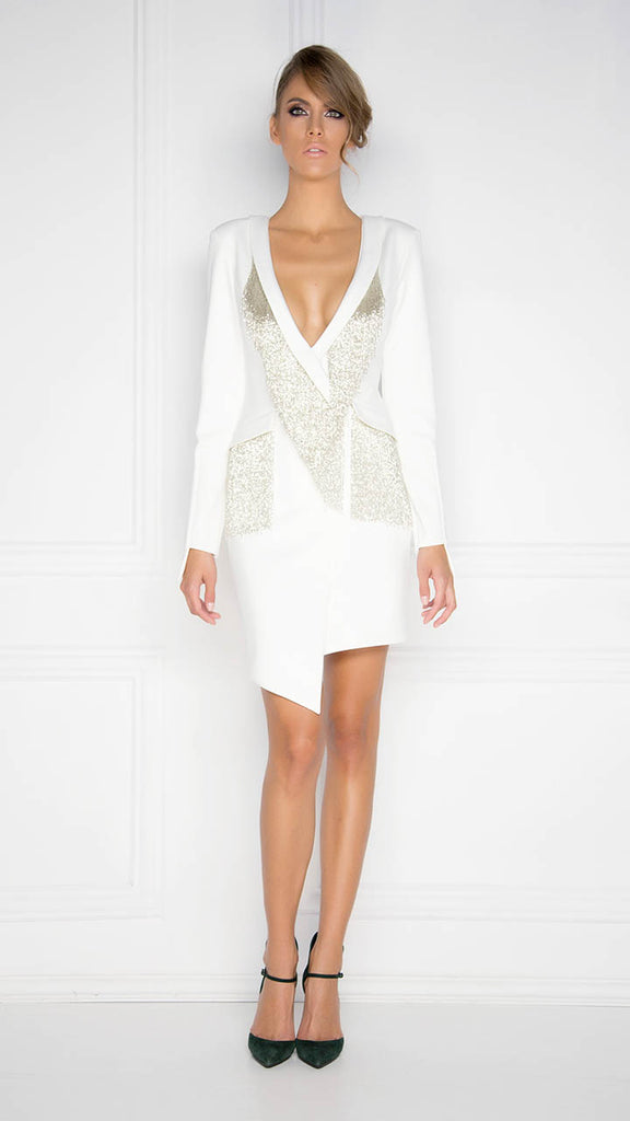 White Assymetric Fringe Dress