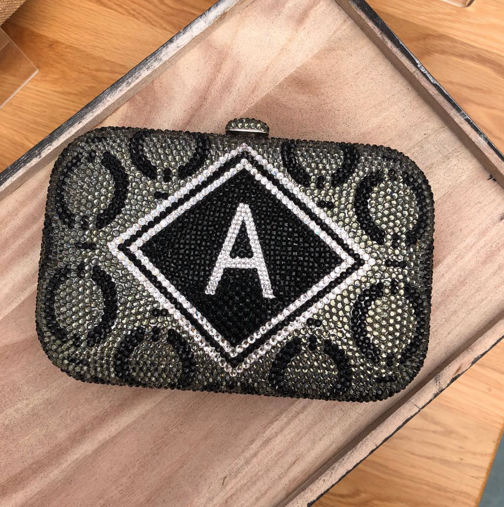Personalised Crystal Letter Clutch Bag