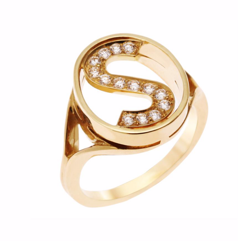 Letter Ring  in 18k Gold