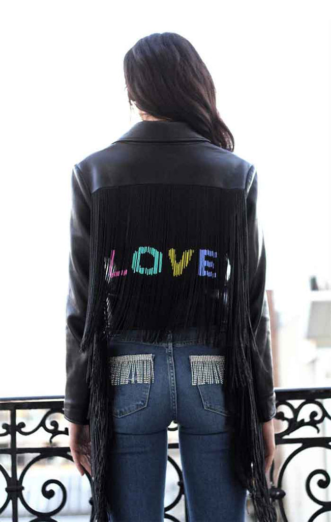 LOVE Tassel Leather Jacket