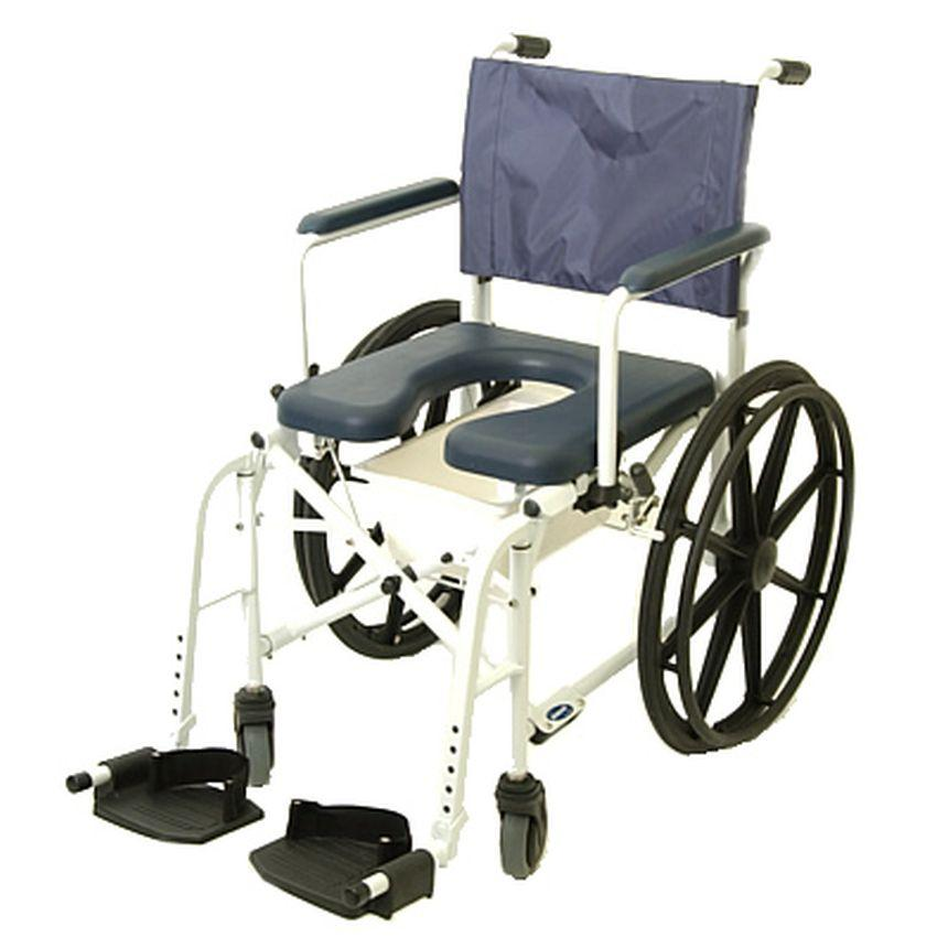 "MARINER REHAB SHOWER COMMODE CHAIR - 24"" WHEELS"