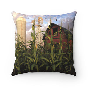 Barn and Silo, Spun Polyester Square Pillow