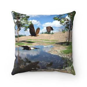 Eagles Over Pond, Spun Polyester Square Pillow