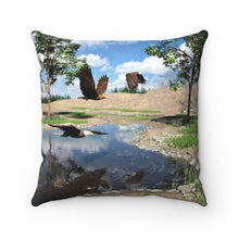 Load image into Gallery viewer, Eagles Over Pond, Spun Polyester Square Pillow