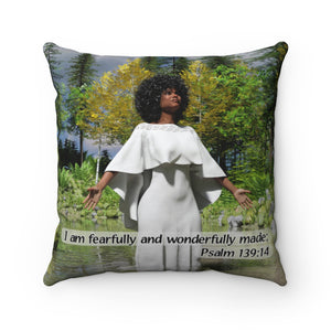 Black Woman White Dress, Spun Polyester Square Pillow