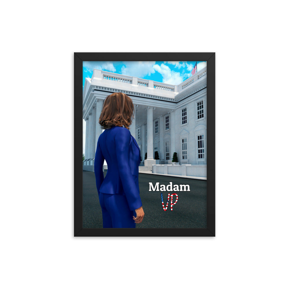 Framed art of Kamala Harris in front of The White House.