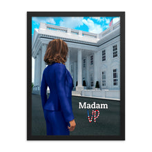 Load image into Gallery viewer, Framed art of Kamala Harris in front of The White House.