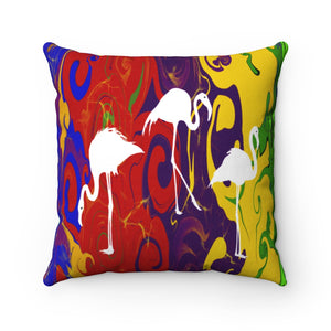 Three Swans and Multi Color, Spun Polyester Square Pillow