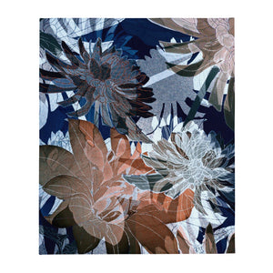 Blue Floral, Throw Blanket