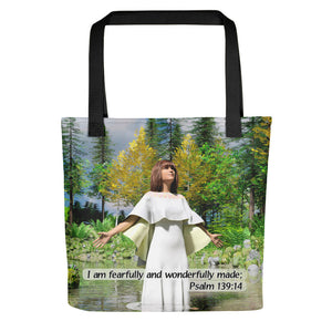 Woman with Yellow Shawl, Tote bag