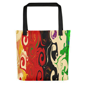 """Cream Red Black Green Swirl"" Tote bag"