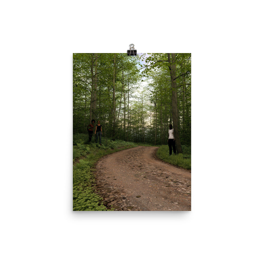 Trail with People at Dusk, Poster