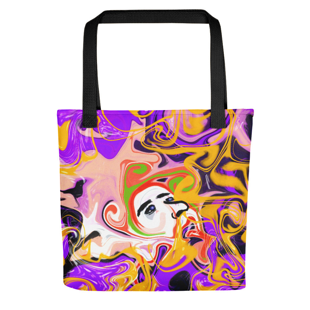 Purple Abstract with Face, Tote bag