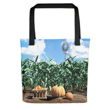 "Load image into Gallery viewer, ""Corn Stalks and Pumpkins"" Tote bag"