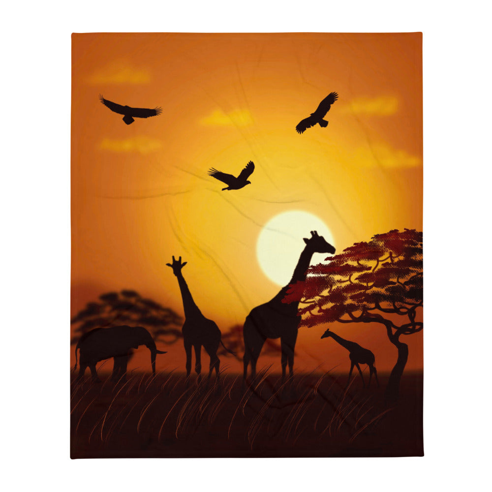 African Scene, Throw Blanket