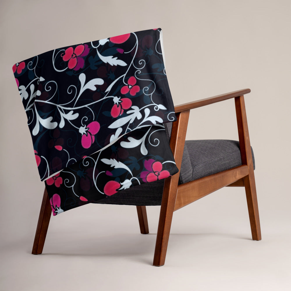 Red Black Floral, Throw Blanket