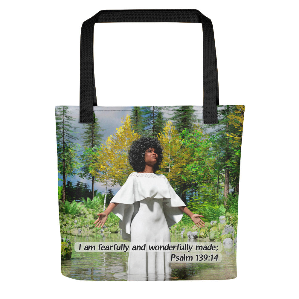 Black Woman in White Dress, Tote bag