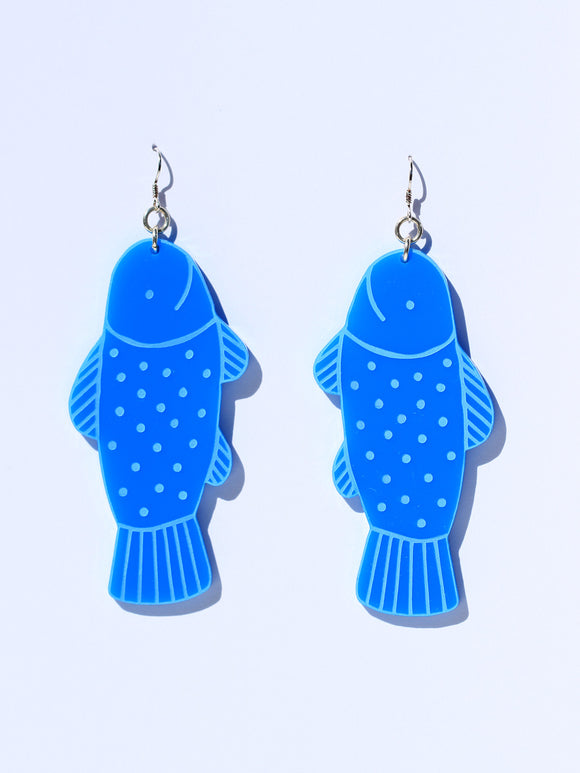 Earrings-fish-mini-sky blue