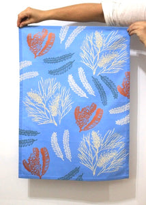 Tea Towel - Grevillea & Banksia - Sky Blue/Copper/Cream/Eggshell