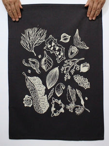 Tea Towel - Top End Botanicals - Charcoal/Cream