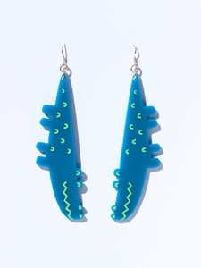 Croc earrings-mini-green