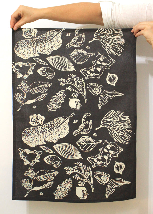 Tea Towel - Top End Seedpods & Leaves (single colour)
