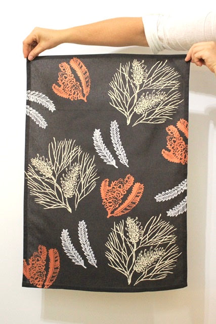 Tea Towel - Grevillea & Banksia - Charcoal/Copper/Cream/Grey