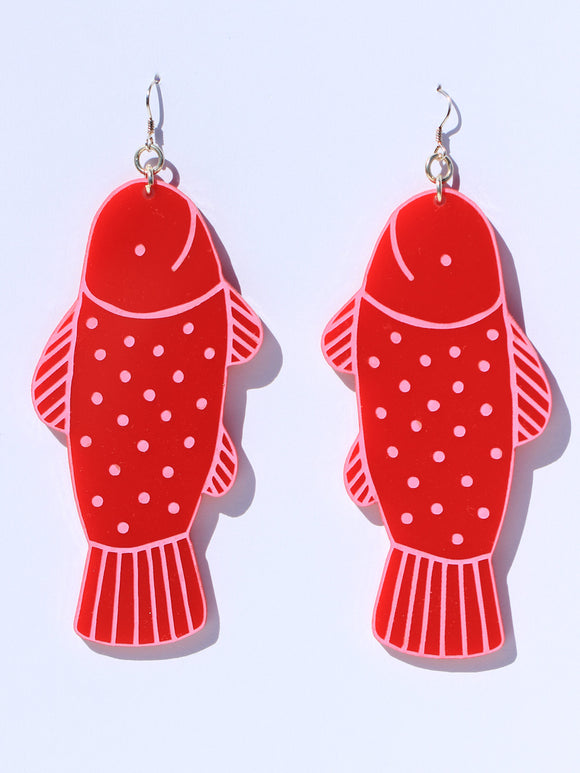 Earrings-fish-mega-red