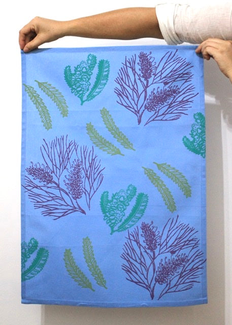 Tea Towel - Grevillea & Banksia - Sky Blue/Purple/Lime/Emerald
