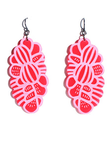Grevillea earrings-etch-short-hot pink