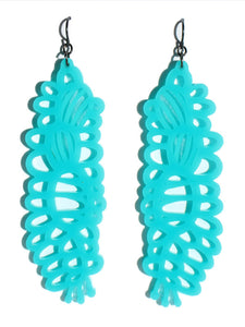 Grevillea earrings-cutwork-long-turquoise