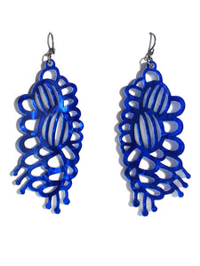 Grevillea earrings-cutwork-short-velvet blue pearl