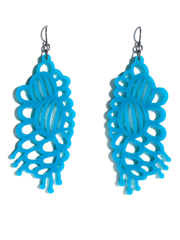 Grevillea earrings-cutwork-short-teal