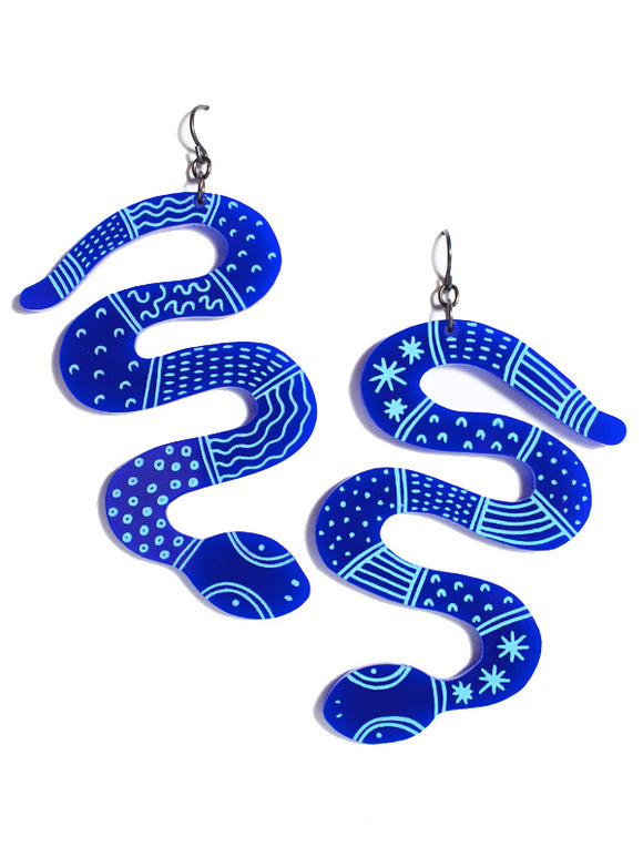 Python earrings-maxi-classic blue