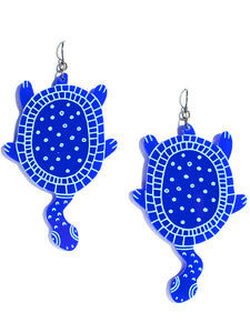 Turtle earrings-maxi-classic blue