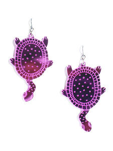 Turtle earrings-mini-purple mirror