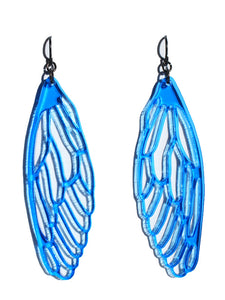 Wings earrings-cutwork-transparent blue