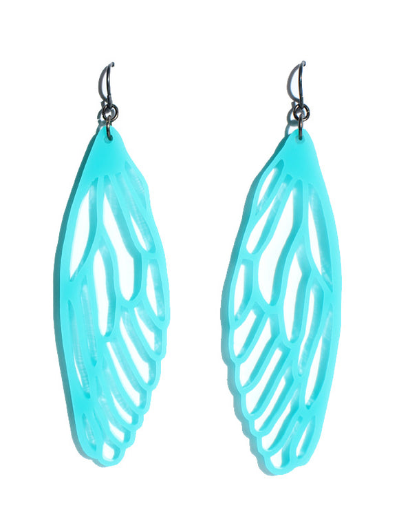 Wings earrings-cutwork-turquoise