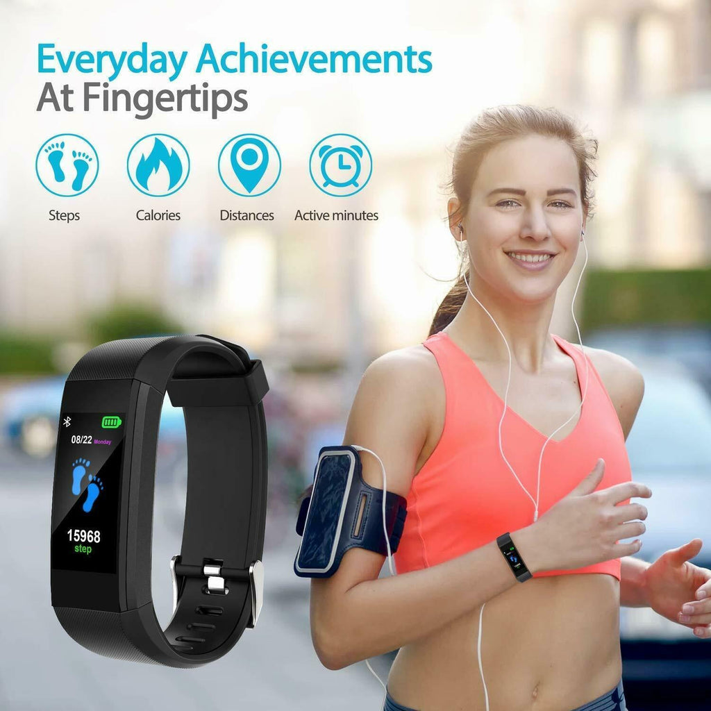 BEST Fitness Smartwatch Tracks Your Running & Walking Distance, Heart Rate, Calories, Blood Pressure & More... Choose From 5 COLORS + Get FREE Delivery Too!