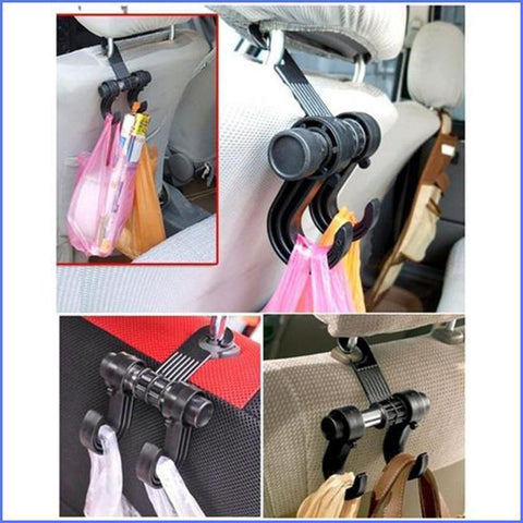 Image of Easy & Convenient Car Seat Double Hanger For Bags, Clothes and More