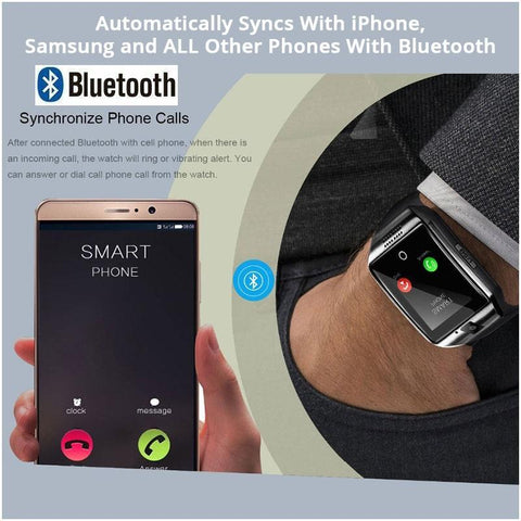 Image of Amazing Full Function Bluetooth Smart Watch With Call Answer, Fitness Apps, Camera + SD Card Port & More! ++ You Get FREE Shipping Too!  🚛