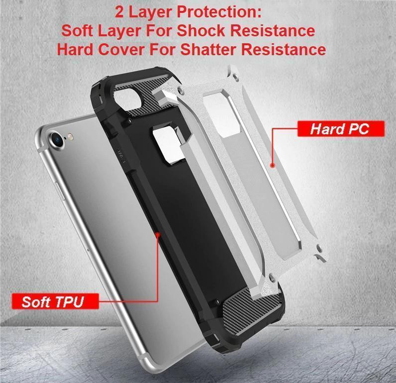 Shockproof Double Layer Armor Case For The Toughest Conditions For iPhone X, 8, 7, 6, and 6, 7, 8 PLUS