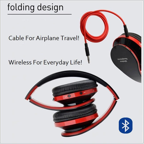 Image of Noise Cancelling Bluetooth Wireless Headphones with Mic! Comfortable, Perfect For Music, Phone, Online Chat & Gaming... Foldable! Superb Sound Quality!