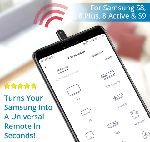 Image of Turns Your SAMSUNG 9 or SAMSUNG 8 Into A UNIVERSAL SMART REMOTE!  Control All Devices With Your Phone... Quick & Easy!