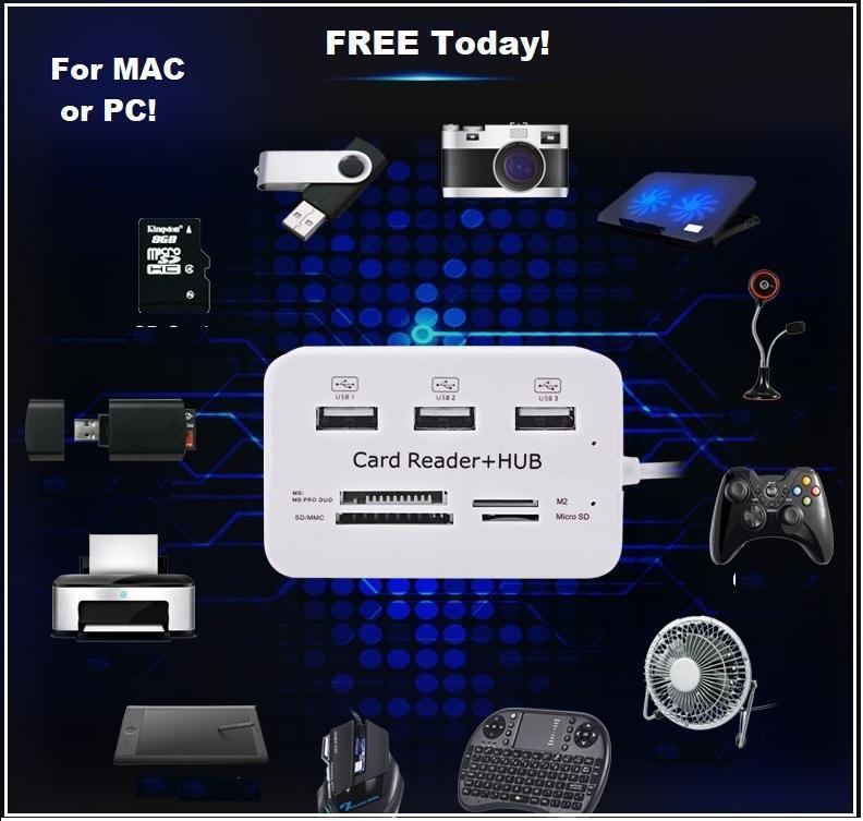 The Ultimate Multi-Port USB 3.0 HUB Splitter 3 Ports PLUS SD + Micro SD Card Reader. MAC or PC! Just cover shipping and get yours FREE today!