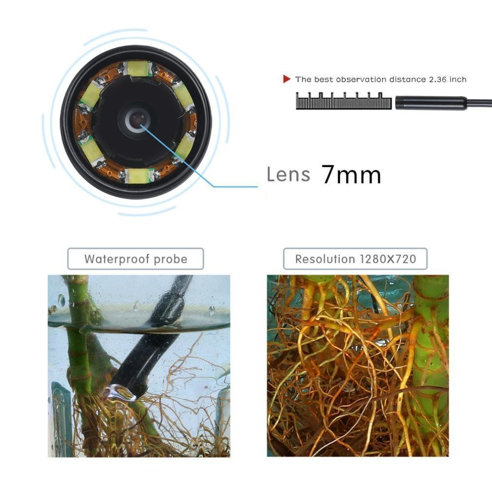 Waterproof 7mm Endoscope For Android Phone With LED Lighted Lens For High Visibility!
