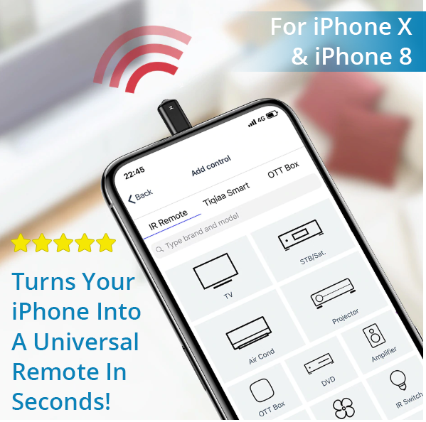 Turns Your iPhone X or iPhone 8 Into A UNIVERSAL SMART REMOTE!  Control All Devices With Your Phone... Quick & Easy!