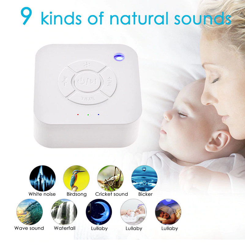 White Noise Sleep Sound Machine For Sleeping & Relaxation Is Perfect For Baby, Adult, Office, Travel With 9 Natural Relaxing Sound Options